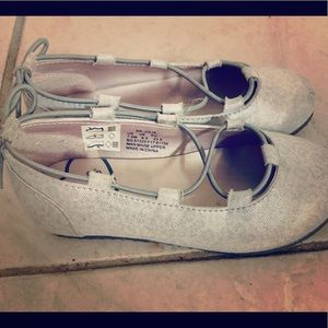 Girl's silver Stride Rite flats with lace detail